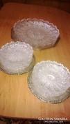 Gyönyörű kézicsiszolású süteményes kristálykészlet (1+6db)