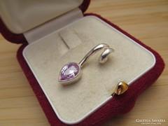 Ezüst medál csepp alakú kővel - új ékszer