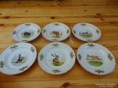 Hollóházi kézzel festett és aranyozott leveses tányérok