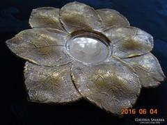 """Sheffield-Maple&Co dombor """"hamvas"""" levelekből angol ezüstözött dísztál-18 cm"""