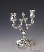 Ezüst kétágú barokk stílusú gyertyatartó