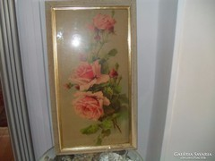 Rózsás kép - fára festve -