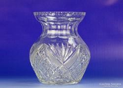 0G518 Régi vastagfalú csiszoltüveg váza