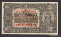 1000 korona 1923. (8 fillér felülb.) ! aUNC!! HAJTATLAN!!!