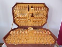 LUXUS PUR 24 karátos arany evőeszköz! 104db!12 szem.+halas!
