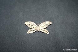 Valódi antik ezüst filigrán pillangó  bross, kitűző
