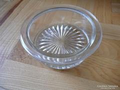 Retro kis üveg tál,  retro vastag falú kínáló tál,