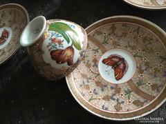 Antik kávés csészék aljjal, Cubash mintás - Schlaggenwald (Haas és Czjzek)