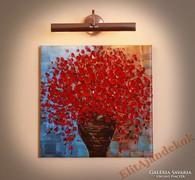 Piros és arany színben tündöklő csokor - gyönyörű festmény