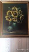 Tüttő József: Virágcsendélet olajfestmény 47x57cm