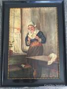 Olvasó nő, olaj/ vászon festmény