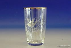 0H572 Régi festett üveg ajándék pohár TONCSI