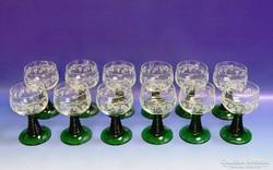 0H963 Régi talpas likőrös talpas pohár 12 darab