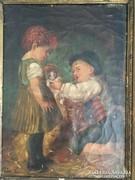 Gyerekek cicával festmény