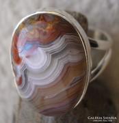 925 ezüst gyűrű 17,3/54,3 mm, mexikói laguna achát