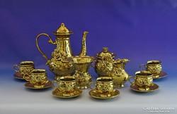 0I302 Arany színű 6 személyes kávés készlet
