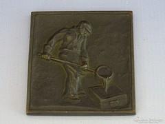 0I429 Régi bronzírozott vasöntő emlék plakett