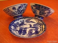 Eredeti, porcelán tányér,2db.kínai tálka és rizsszemes kanál
