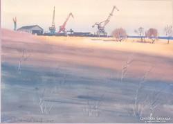 Dobroszláv József  Balatonfüredi Hajógyár 1967  akvarell