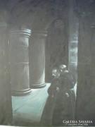 P205 Régi jezsuita témájú olajfestmény