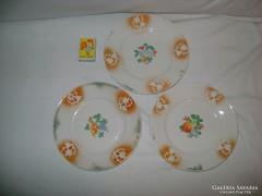 Porcelán süteményes tányér - három darab - gyümölcsös