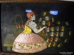 P278 Kivarrt selyemkép fiatal lány virágokkal