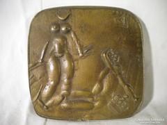 P407 Nagyméretű régi absztrakt bronzplakett