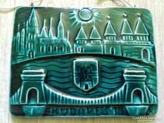 """Komlós kerámia """"Budapest"""" fali dísz fali kép jelzett zsűrizett ritka"""
