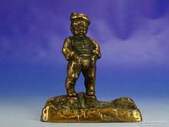 0I792 Régi névjegykártya tartó kalapos fiú szobor