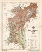Bars vármegye térkép 1893, antik, eredeti