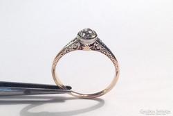 14K Antik vésett gyűrű brilliánssal 0.25 ct