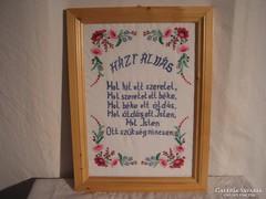 Kép - Házi Áldás 50 x 38 cm - Hímzett - keretezett - üveges