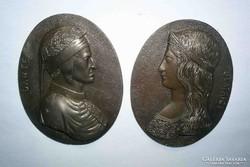 Hibátlan bronz plakettek / 2db