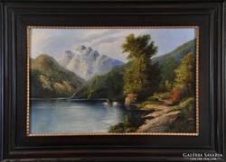Ismeretlen művész: Alpesi tájkép, 19.sz vége
