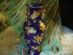 Kék és arany színű amfora váza