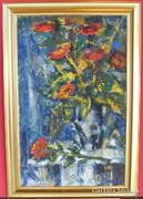 VATI JÓZSEF Virágcsendélet  Kék
