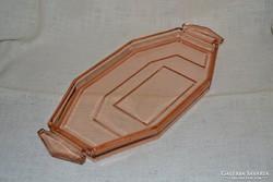 Rózsaszín üveg likőrös készlet tálcája ( 015 )
