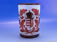 0A050 Antik bíborpácolt címeres biedermeier pohár