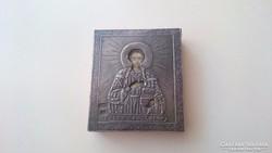 Orosz 875 ös (84) ezüst kis ikon Szt.Pantaleon.