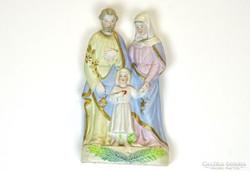 0J188 Régi porcelán biszkvit Szent család szobor