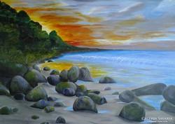 Tengerparti naplemente c festmény, tájkép