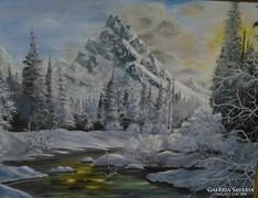 Téli napkelte c. festmény, tájkép