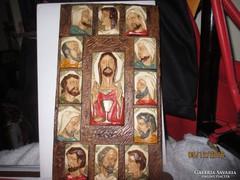 Jézus és a 12 apostol / gyönyörű falidísz