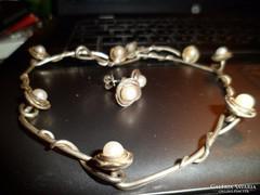 Izraeli ezüst szett /gyöngy
