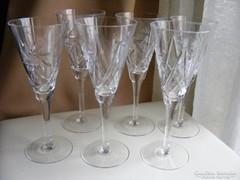 6 db kristály pezsgős pohár