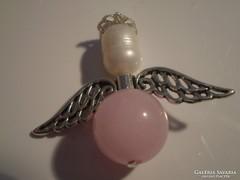 Tenyésztettgyöngyös-rózsakvarcos angyalka