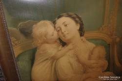 Anya gyermekeivel, régi papírkép + keret