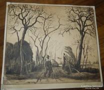 Régi falusi jelenet - szignózott rézkarc Korn Tavanov -1926