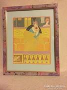 Képkeret áráért! Szecessziós szép nyomat,üvegezett keretben (GSZEKTEXB)