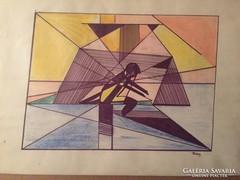 Rónay jelzéssel: Ülő alak pasztell festmény